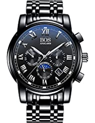 BOS Mens Quartz Analog Wrist Watch Chronograph Stainless Steel Black Band Black Dial 8006