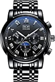 BOS Men's Quartz Analog Wrist Watch Chronograph Stainless Steel Black Band Black Dial 8006