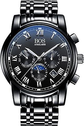 BOS Men's Quartz Analog Wrist Watch Chronograph Stainless Steel Black Band Black Dial 8006 - Chronograph Synthetic Sapphire