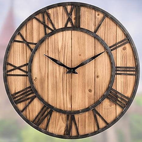 WuuLii Decor Horloge Murale-Horloge Murale de Jardin en Fer ...