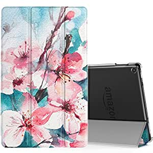 MoKo Case for All Amazon Fire HD 10 Tablet (7th Generation, 2017 Release) - Smart Shell Stand Cover with Auto Wake/Sleep & Translucent Frosted Back for Fire HD 10.1 Inch Tablet, Peach Blossom