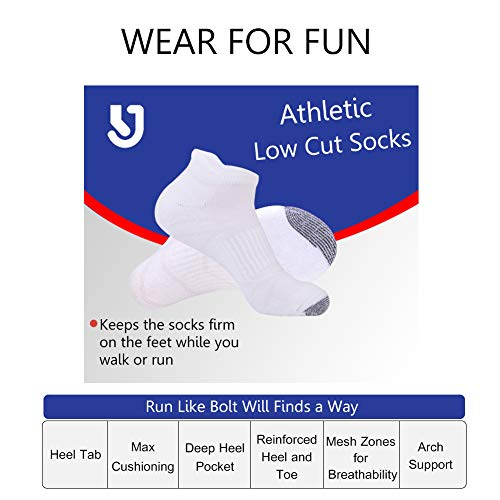 Mens Ankle Athletic Socks with Performance Cushion Tab for Sports Running 6Pack by JOYNÉE (Image #5)