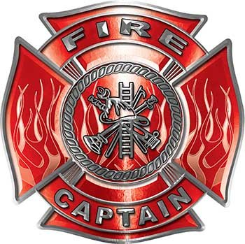 Fire Captain Maltese Cross with Flames Fire Fighter Decal in Red ()