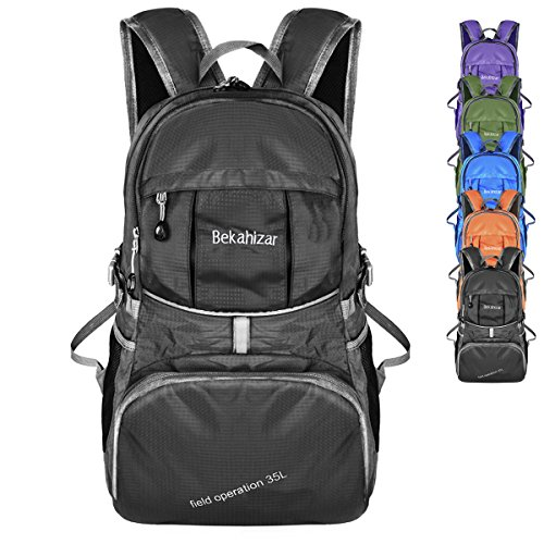 Bekahizar Lightweight Backpack 35L Foldable Hiking Day Pack Packable Travel Day Bag for Outdoor Camping Cycling Trekking