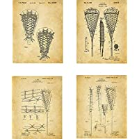 Lacrosse Patent Wall Art Prints - set of Four (8x10) Unframed - wall art decor for lax fans