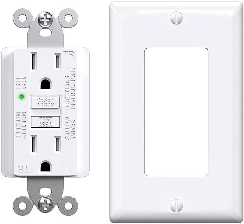 GFCI Outlet 15 Amp, Slim Receptacle Outlet with Status Indicator Light, Outdoor & Indoor, Self-Test Ground Fault Circuit Interrupter with Wall Plate, 1 Pack, White - -