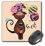 3dRose Uta Naumann Sayings and Typography - Cute Children Watercolor Animal Illustration - Flower Monkey - Sweet - MousePad (mp_289926_1)