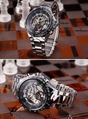 etbotu automático relojes, Ruso esqueleto reloj de pulsera de acero inoxidable de plata para los hombres, color negro: Amazon.es: Relojes