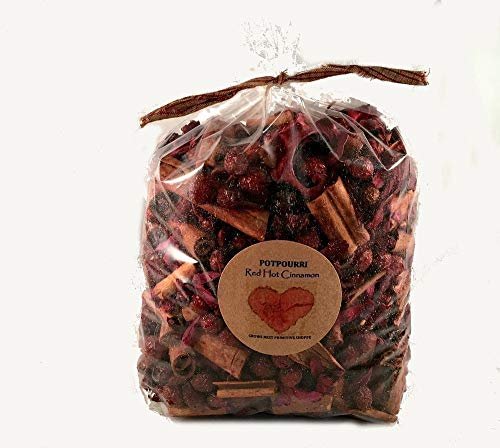 Red Hot Cinnamon Potpourri scented Strong Cinnamon Fragrance- Jumbo 24 ounce bag labeled with primitive heart tag