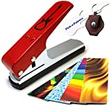 Pick-a-Palooza DIY Guitar Pick Punch - The Premium Guitar Pick Maker and a Leather Key Chain Pick Holder - Gift Pack - Red