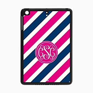 Customized Case for IPad air2 (Ipad 6) Pink Circle Monograms Tilt Pink and Blue Stripes with Best Plastic Black ALL MY DREAMS