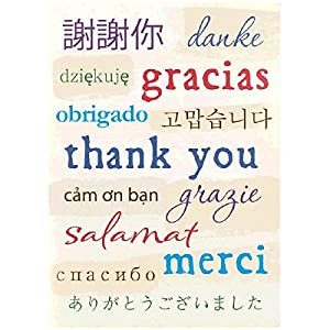 Amscan A World Of Thanks On White Bifold Thank You Notes Set Party Supply (Pack of 16), Multicolor, 5 1/2