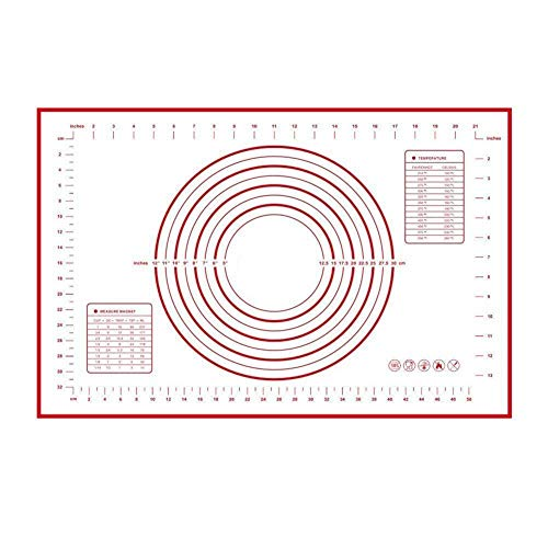 "Price comparison product image ZCHING Silicone Pastry Mat with Measurement Not-Slip Rolling Dough Mats for Baking 24"" x 16"" (red)"
