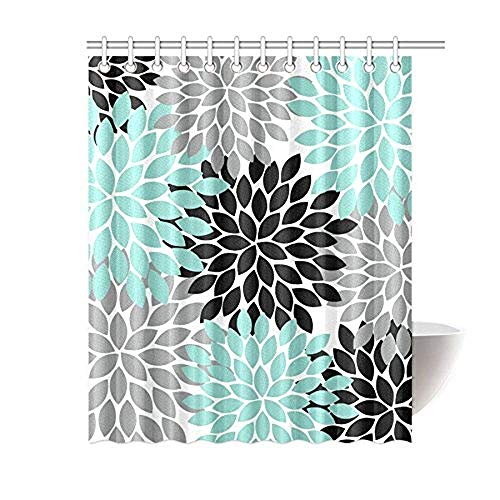 Anzona I-Manggo Black Grey Green Dahlia Floral Pattern Shower Curtains,72x72 Inch (Curtain Black And Shower Green)