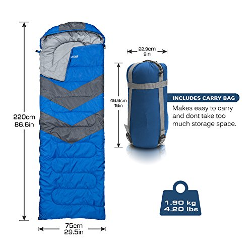 Sleeping Bag – Envelope Lightweight Portable, Waterproof, Comfort With Compression Sack - Great For 4 Season Traveling, Camping, Hiking, Outdoor Activities & Boys. (SINGLE) By Abco Tech (Blue)