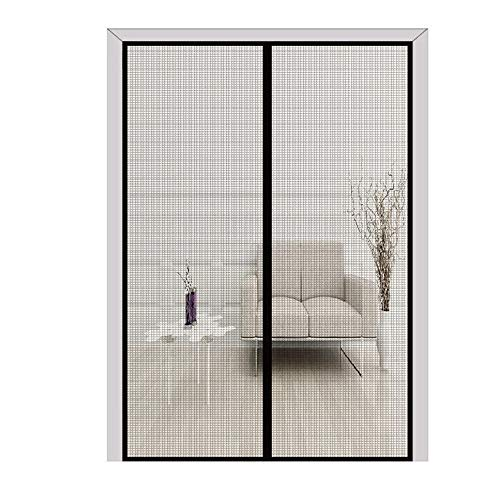 FLYZZZ Updated Generation Magnetic Screen Door with Fiberglass Mesh Curtain and Full-Frame Hook&Loop, Magnetic Net Mosquito and Bug Screen Door (Fits Doors Up to 37.4x93.48 Inches - Door 11 Screen Sliding