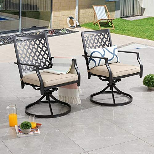 PatioFestival Swivel Patio Chairs Dining Chair Metal Frame Bistro Set Outdoor Furniture