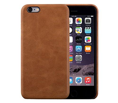 iPhone 6 Plus / 6S Plus Backcover-Case, FUTLEX Retro Stil Case aus echtem Leder - Braun - Ultra Slim - Präziser Zuschnitt und Design - Handgefertigt