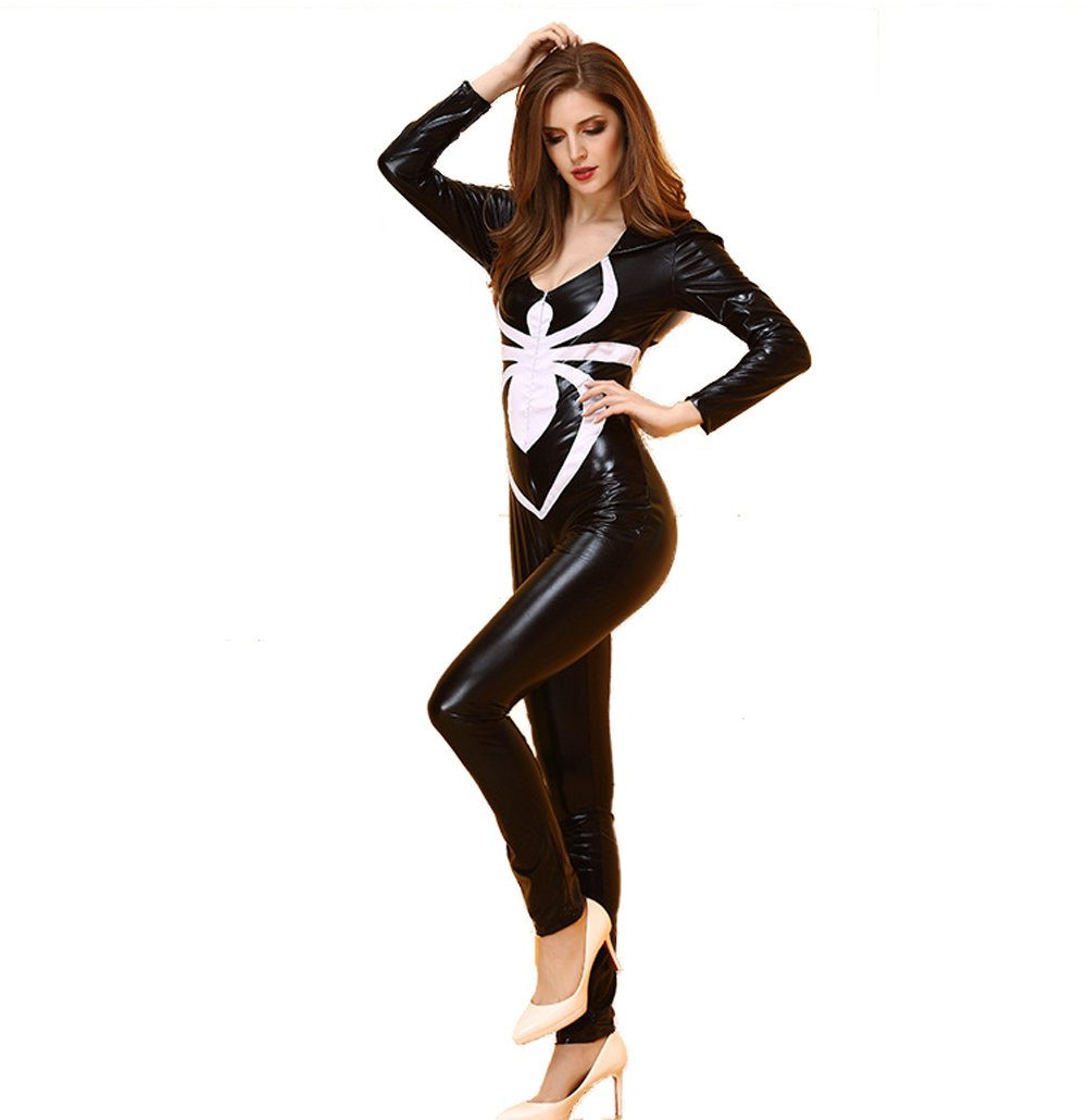- 51tnR QeeJL - WELVT Women's Arachnid Babe PU Leather Spider Catsuit Hooded Romper Costume