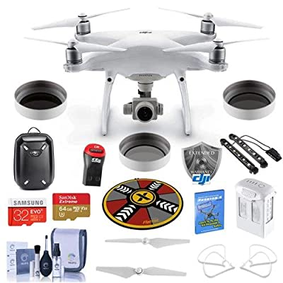 DJI Phantom 4 Advanced Pro Kit - Bundle with DJI Hardshell Backpack, 64/32GB MicroSDXC Card, Spare Battery, DJI Care Refresh Warranty, Propeller Guard, Collapsible Pad, Polar LED Light Bars, and More