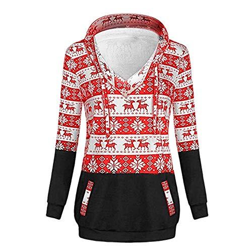 Fashion Da Taglie Cappuccio Felpe Tops Felpa In Rosso Saoye Giovane Lunghe Donna Natale Con Pullover Di Maglia 0IwdWAq
