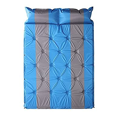 HILLPOW Comfortable Double Self-Inflating Air Sleeping Pad for Outdoor Camping and Backpacking (blue)