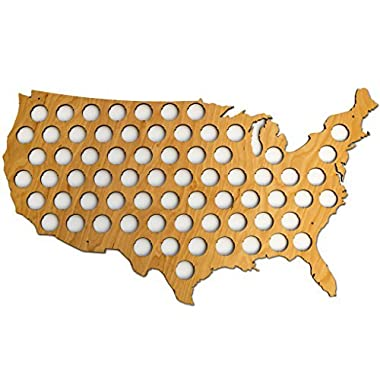 USA Beer Cap Map - Glossy Wood Bottle Cap Holder - Skyline Workshop