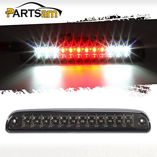 Partsam For 1999-2016 Ford F-250/F-350/F-450/F-550 Super Duty 1993-2011 Ford Ranger Red/White 12 LED Smoke Lens Chrome Housing Tail Rear High Mount 3rd Third Brake Light Cargo Lamp Waterproof