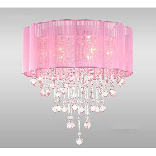 6 light pink chandelier for girls rooms with chrome and crystal 6 light pink chandelier for girls rooms with chrome and crystal shaped pieces amazon mozeypictures Images