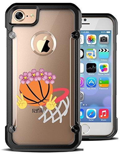 iPhone 7 Case Basketball Hoop Emoji Floral Crown Hybrid Transparent Designer Case Cover For Teens Girls Women. Fits iPhone 7 7S [ KlypsterMax ]