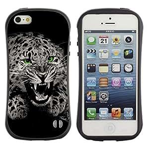 Suave TPU GEL Carcasa Funda Silicona Blando Estuche Caso de protección (para) Apple Iphone 5 / 5S / CECELL Phone case / / Fangs Black White Leopard Spots Fur Roar /