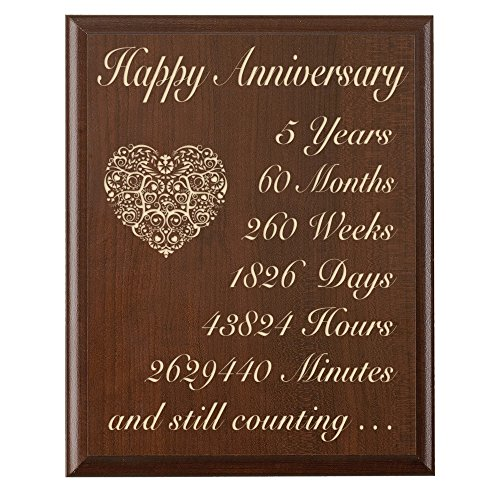 5th Wedding Anniversary Wall Plaque Gifts For Couple 5 Ye