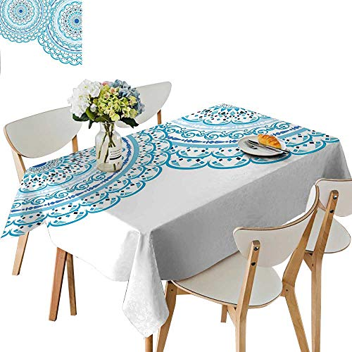 (UHOO2018 Polyester Fabric Tablecloth Square/Rectangle Wedding Invitation Card Theme Lace Mandala and Place for Text Print Sky Blue for Picnic,Outdoor or Indoor,52 x)