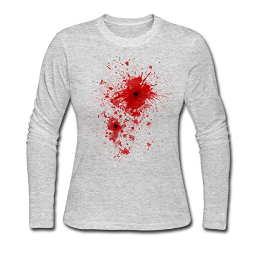 Blood Stain, Splatter, Bullet Wound - Costume Women's Long Sleeve Jersey T-Shirt by Spreadshirt, 2XL, (Bullet Wound Costume)