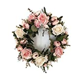 Adeeing Handmade Floral Artificial Simulation Peony Flowers Garland Wreath for Home Party Decor Pink