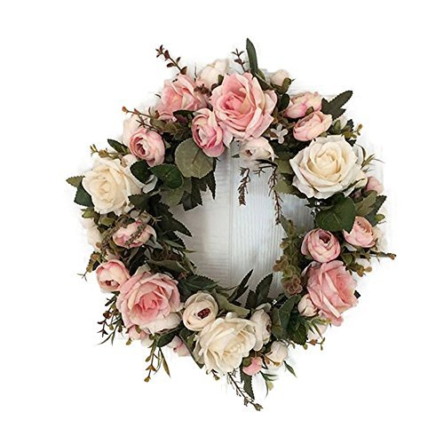 Adeeing Handmade Floral Artificial Simulation Peony Flowers Garland Wreath for Home Party Decor Pink by Adeeing