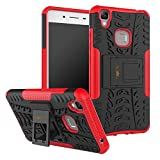 Heartly Vivo V3 Max Back Cover Kick Stand Rugged Shockproof Tough Hybrid Armor Dual Layer Bumper Case - Hot Red