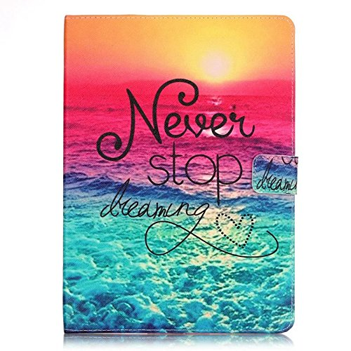 iPad Mini 4 Case,Never Stop Dreaming Pattern Slim PU Leather Stand Case [Card Holder] Flip Folio Wallet Cover for Apple iPad Mini 4