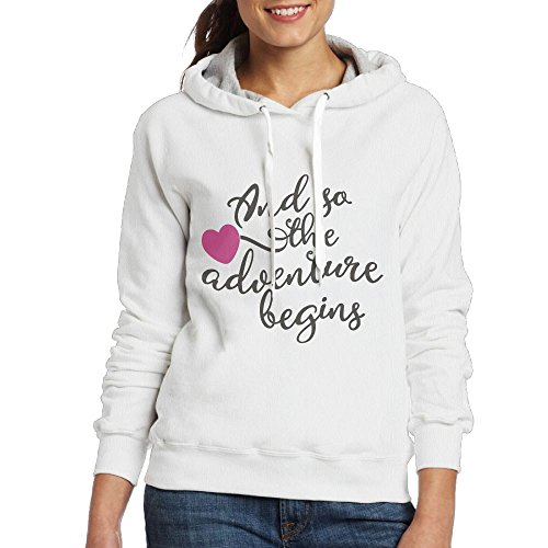 SmallTing Women's and So The Adventure Begins Classic Running White Hoodies XXL