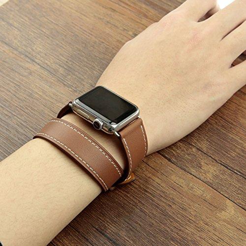 Apple Watch Band Wollpo®apple montre la plus longue bande de cuir véritable  double tour bracelet cuir iwatch bracelet de montre pour apple  (marron/Brown
