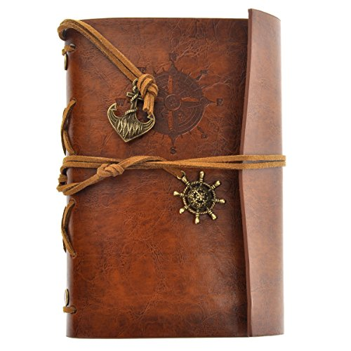 World Traveller Costume (Vintage Faux Leather Cover Notebook Journal Diary Blank String Nautical Brown)