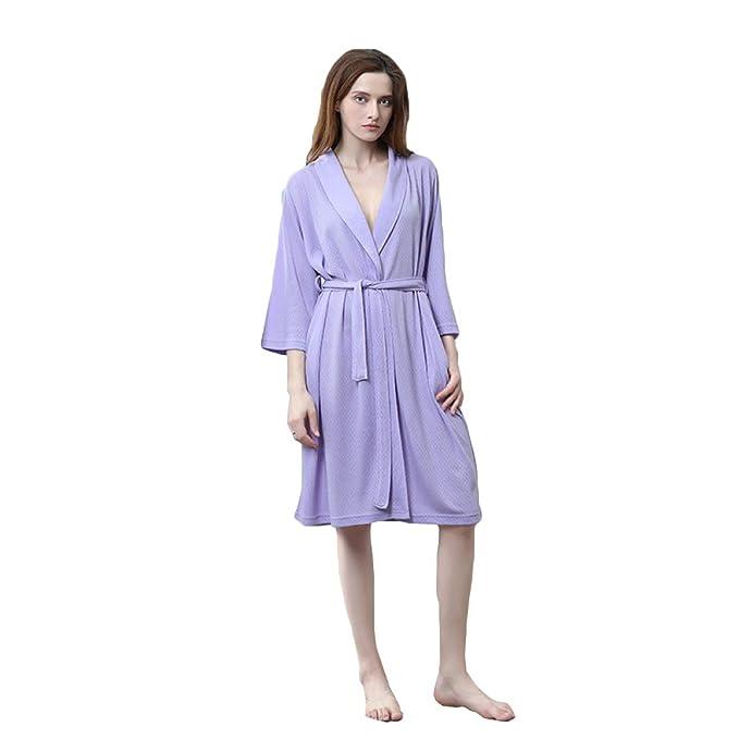 WKNBEU Unisexo Señoras Azul Sección Delgada Bata De Baño Ropa De Dormir Casa Casual Spa Hotel