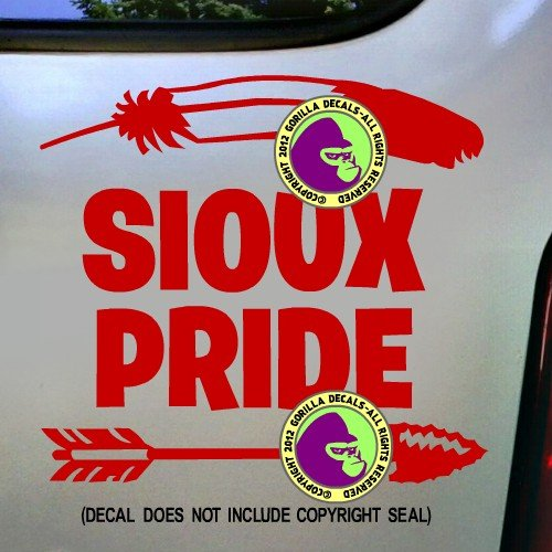 SIOUX PRIDE Native American Tribe Tribal Feather Spear Decal Vinyl Bumper Sticker Laptop Window Car Truck Wall Sign RED (Sioux Window Decal compare prices)