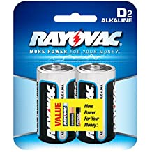 Mercury Free Alkaline Batteries, D, 2/Pk, Sold as 1 Package