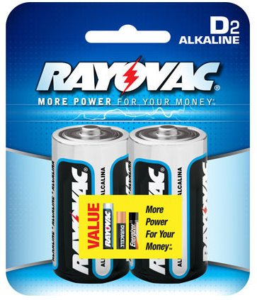 Rayovac D Alkaline Batteries, 813-2F, 2-Pack