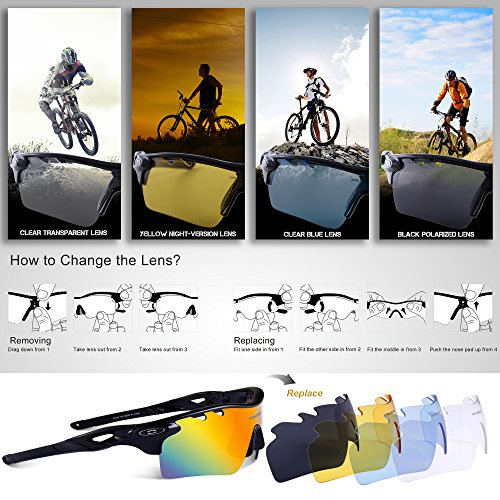 fa23022a1d3 RIVBOS 801 TR 90 Polarized Sports Sunglasses Sun Glasses with 5  Interchangeable Lenses (UpGrade TR