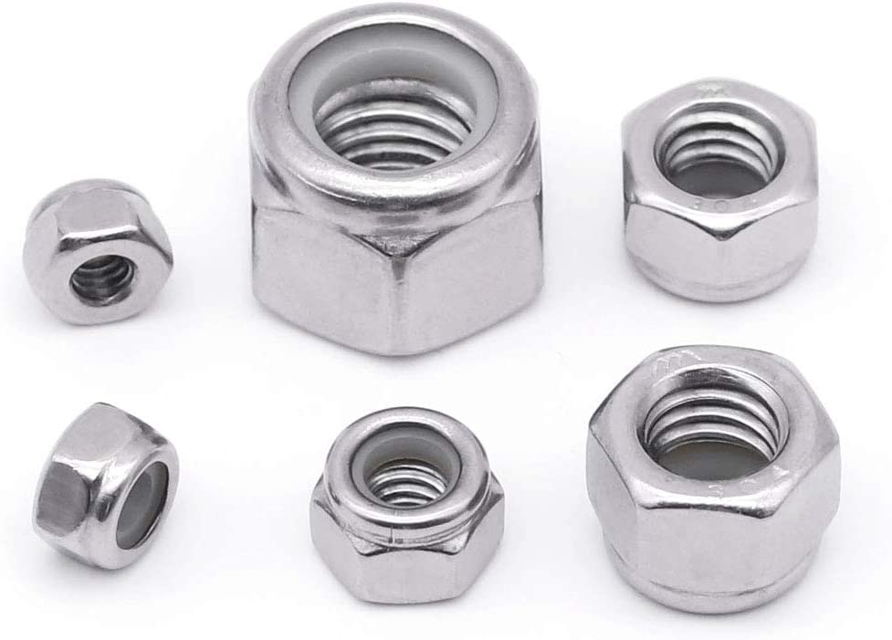 Bright Finish,304 Stainless Steel 18-8 1//4-20 Nylon Insert Hex Lock Nuts 25 PCS by Eastlo Fastener