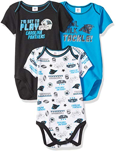 NFL Carolina Panthers Unisex-Baby 3-Pack Short Sleeve Bodysuits, Black, 0-3 Months (Baby Boy Panthers)