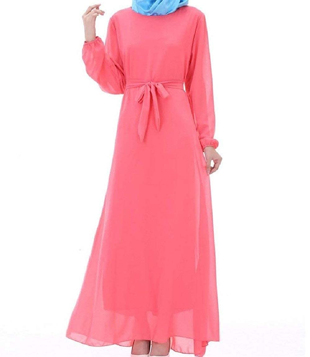 Hadudu Women Muslim Belt Gown Solid Color Arab Long Maxi Dress