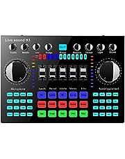 Klankbord Mixer, K1 Computer Telefoon Voice Changer Live Sound Card HIFI Mixer Board Streaming Audio, Bluetooth 5.0 Universele geluidseffecten Mixer Board Music Recording